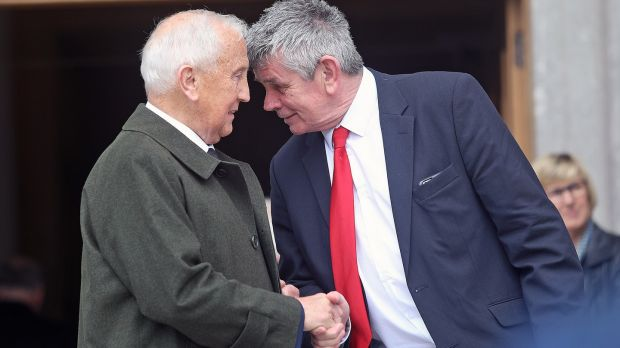 GAA legend Seán Boylan and Martin Skelly of the GAA meet at the funeral of Eugene McGee at St Mel's Cathedral, Longford on Thursday afternoon. Photograph: Lorraine Teevan