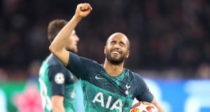 "Tottenham hero Lucas Moura celebrated the ""greatest night of my career"" after his stunning hat-trick against Ajax sent his side to the Champions League final. Photograph: Adam Davy/PA"