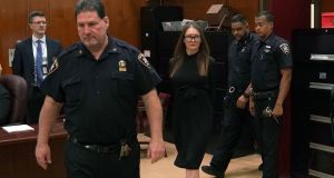 Fake German heiress Anna Sorokin arrives in court during her sentencing at Manhattan supreme court. Photograph: Timothy A Clary/AFP/Getty Images