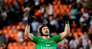 Arsenal's Czech goalkeeper Petr Cech celebrates at the end of the match at the Mestalla stadium in Valencia. Photograph: Getty Images