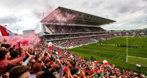 Cork and Limerick parade around Páirc Uí Chaoimh  before round three of the 2018 Munster Hurling Championship. Photograph: Inpho