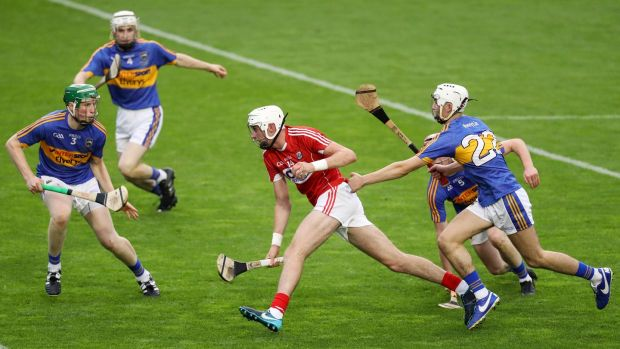 Cork's Tim O'Mahony on the attack against Tipperary in the 2018 U21 Munster Hurling Championship final at Páirc Uí Chaoimh. Photograph: Inpho