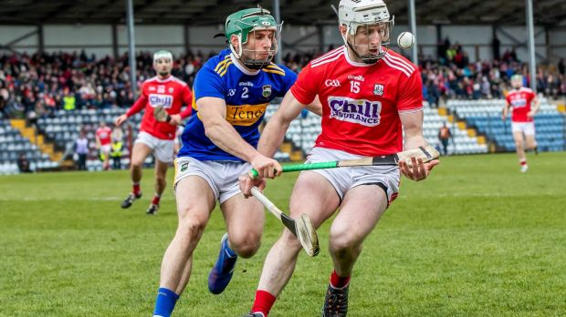 Cork's Patrick Horgan with Cathal Barrett of Tipperary in a league match at Páirc Uí Rinn in March. Photograph: Inpho