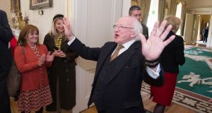 President Michael D Higgins hosts an event at Áras an Uachtaráin on Friday for the Christine Buckley Centre, an organisation set up to assist the victims of clerical and institutional abuse. Photograph: Dave Meehan for the Irish Times