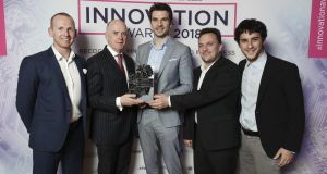 Irish Times managing director Liam Kavanagh (second from left) with Martin Woods, Niall Dennehy, Danny Curran and Nicola Paoli of Aid:Tech at the Irish Times Innovation Awards 2018. Photograph: Conor McCabe.
