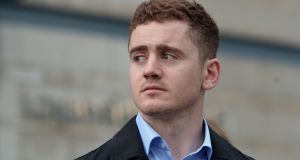 Paddy Jackson leaves Laganside Magistrates Court, March 2018. He was acquitted of rape but was subsequently sacked from the Ireland rugby team. Photograph: Pacemaker