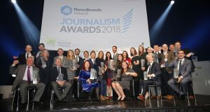 The winners of last year's NewsBrands Ireland Journalism Awards at Dublin's Mansion House. Photograph: Nick Bradshaw: The Irish Times.