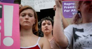 "Women protesting against Georgia's anti-abortion ""heartbeat"" Bill in Atlanta, Georgia. Photograph: Elijah Nouvelage"
