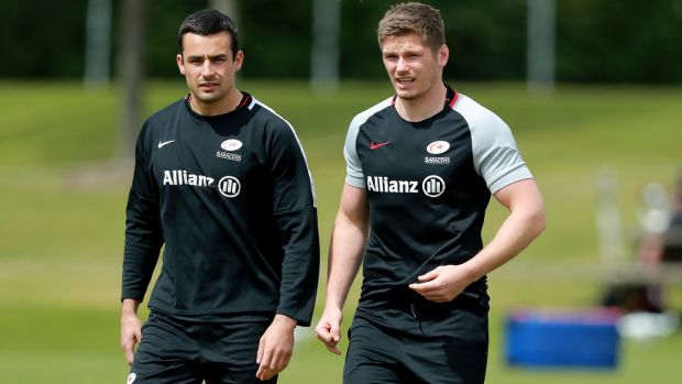Alex Lozowski and Owen Farrell train ahead of Saracens' Champions Cup final clash with Leinster. Photograph: David Rogers/Getty