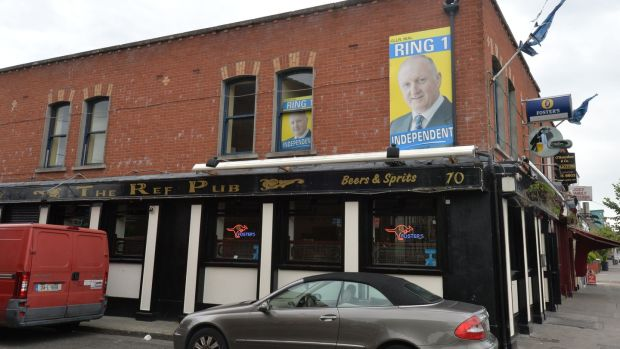 The Ref Pub at 70 Ballybough Road with a poster of Nial Ring. Photograph: Alan Betson