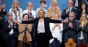 "French far-right Rassemblement National leader Marine Le Pen: says Emmanuel Macron ""has abandoned the concept of the office of president which is that of the Fifth Republic"". Photograph: Vincent Kessler"