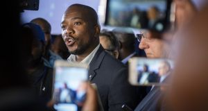 Mmusi Maimane, leader of the opposition Democratic Alliance (DA) party, t the Independent Electoral Commission national results centre in Pretoria, South Africa, on Friday.  Photograph: Waldo Swiegers/Bloomberg