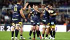 Greig Laidlaw and Clermont celebrate their Challenge Cup victory over La Rochelle. Photograph: David Davies/PA