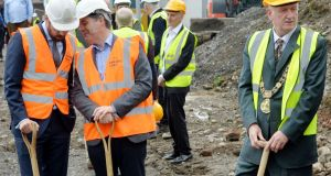 Dublin Lord Mayor Nial Ring (right) with Minister for Housing Eoghan Murphy and  Minister for Finance  Paschal Donohoe at at Sean Foster Place, North King Street, Dublin 7 for the sod turning ceremony on  a housing project. Photograph: Alan Betson