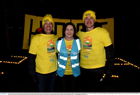 Marguerite Sayers, executive director, ESB, with Peter Hurley of Pieta House (L) and Irish Olympian David Gillick at the Darkness Into Light event at Marlay Park in Rathfarnham, Dublin. Photograph: Erin Noonan/Sportsfile