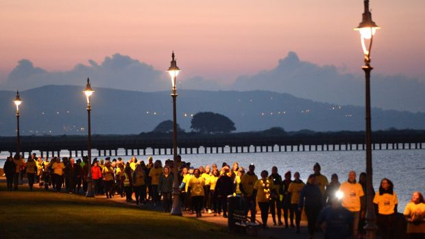Participants in the Darkness Into Light event in Clontarf. Photograph: Dara Mac Dónaill/The Irish Times