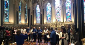 The Christine Buckley Centre survivors choir perform in St Patrick's Cathedral in Dublin to mark 20 years since the State issued an apology over abuse survivors' suffering. Photograph: Jack Power