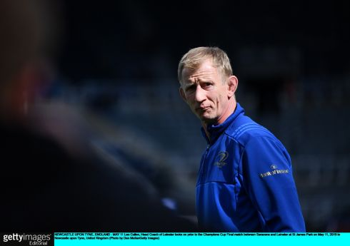 Leo Cullen looks on prior to the Champions Cup Final. Photo: Dan Mullan/Getty Images