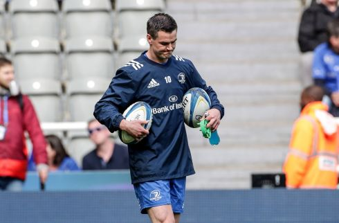 Leinster's Johnny Sexton during the warm up. Photo: Billy Stickland/Inpho