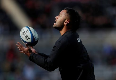 Billy Vunipola during the warm up before the match. Photo: Reuters/Lee Smith