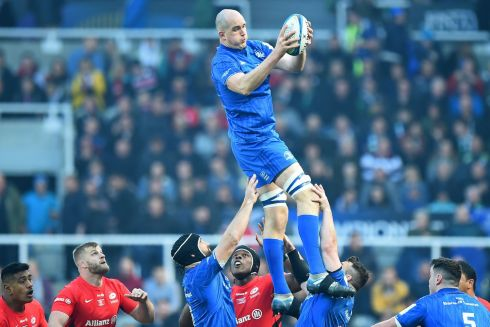 Leinster's Devin Toner wins line-out ball. Photo: Getty Images