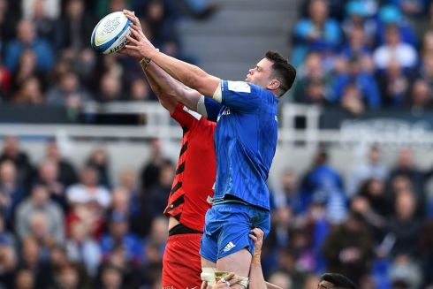 Leinster's James Ryan and Saracens'  George Kruis compete for line-out ball. Photo: Getty Images