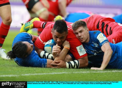 Billy Vunipola of Saracens goes over before scoring team's second try. Photo: David Rogers/Getty Images