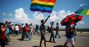Gay rights activists get together before the Annual March against Homophobia and Transphobia in Havana, May 14, 2016th. File photograph: Alexandre Meneghini/Reuters