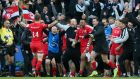 Saracens celebrate their win over Leinster in Newcastle. Photograph: Andrew Fosker/Inpho