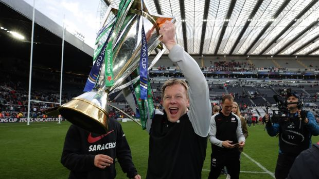 Saracens' director of rugby Mark McCall celebrates after his side's victory over Leinster in the Heineken Champions Cup final at St James' Park, Newcastle on Saturday. Photograph: Billy Stickland/Inpho