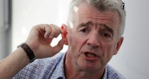 Ryanair chief executive Michael O'Leary: money pile down to just  €865 million. File photograph: Heinz-Peter Bader/Reuters