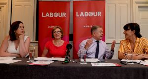 "Labour party leader Brendan Howlin with Jan O Sullivan, Cllr Deirdre Kingston left and Rebecca Moynihan: ""You are not on top unless you are active on the ground,"" says Ms  Kingston. Photograph: Cyril Byrne"