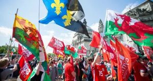 Marchers in Cardiff on Saturday calling for an independent Wales. Photograph: Rex/Shutterstock