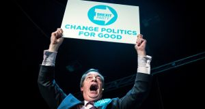 Brexit Party leader Nigel Farage addresses a rally at the Rainton Meadows Arena in Houghton-le-Spring while on the European election campaign trail in Durham. Photograph: Danny Lawson/PA Wire