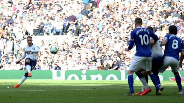 Christian Eriksen scores Tottenham's second against Everton. Photograph: Steven Paston/PA