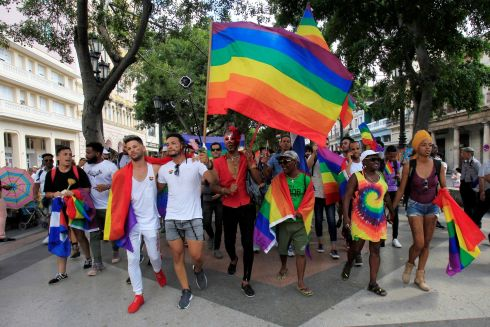 Cuban LGBT activists march in an annual demonstration against homophobia and transphobia in Havana, Cuba. Photograph: Reuters