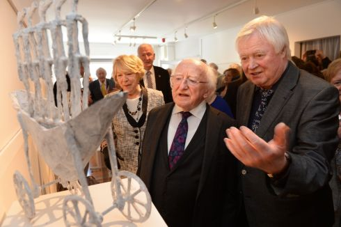 President Michael D Higgins and wife Sabina open an exhibition of Bronzes by John Behan RHA in Kilcock Art Gallery, Co Kildare. Photograph: Dara Mac Donaill/The Irish Times