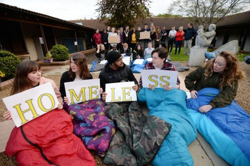 A group of Senior students at Lucan Community College during their fifth annual 12-hour Sleep Out in the school yard overnight to raise awareness of the housing emergency and to show solidarity with the families, children and individuals affected by it. Photograph: Alan Betson/The Irish Times