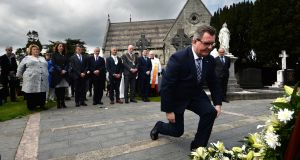 Sir Jeffrey Donaldson  lays a wreath at the annual Daniel O'Connell Commemoration at Glasnevin Cemetery which was followed by a forum on  Ireland post-Brexit. Photograph: Dara Mac Dónaill