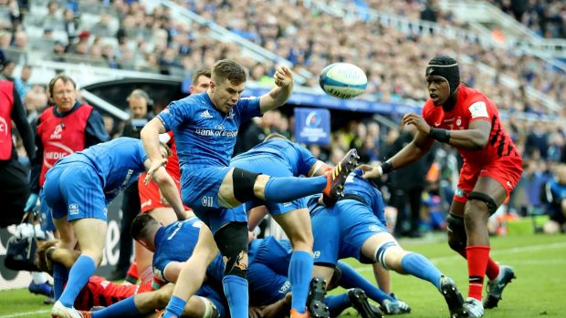 Luke McGrath of Leinster clears the ball upfield during the Champions Cup Final match between Saracens and Leinster at St James' Park in Newcastle on Saturday. Photograph: David Rogers/Getty Images