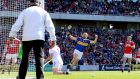 Tipperary's Séamus Callanan celebrates scoring his side's first goal against Cork in the Munster SHC  Round 1 match at Páirc Uí Chaoimh. Photograph: James Crombie/Inpho