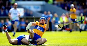 Waterford's Shane Fives and Shane O'Donnell of Clare: John Conlon's early goal for Clare was a thumb on the scale that Waterford couldn't outweigh. Photograph: ©INPHO/Ryan Byrne