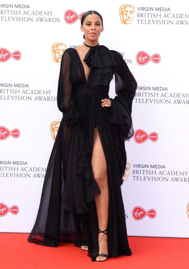 Rochelle Humes in Yves Saint Laurent at the TV Baftas. Photograph: Jeff Spicer/Getty