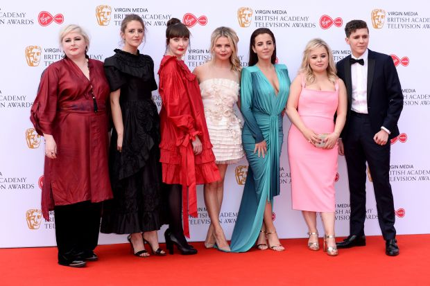 Derry Girls: Siobhán McSweeney, Louisa Harland, Kathy Kiera Clarke, Saoirse-Monica Jackson, Jamie-Lee O'Donnell, Nicola Coughlan and Dylan Llewellyn at the TV Baftas. Photograph: Jeff Spicer/Getty