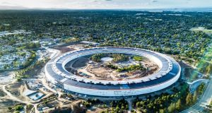 Trinity is the number one university in Europe when it comes to start ups and new businesses developed by students. Aerial photo of Apple new campus building, Cupertino California, USA . Photograph: iStock
