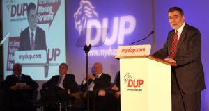 Nelson McCausland addresses the DUP annual conference in 2011.  File Photograph Paul Faith/PA Wire
