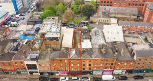 An aerial view of 30 Wexford Street. Both the building itself and he yard to its rear offer development potential subject to planning permission.