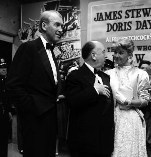 Doris Day with film director Alfred Hitchcock and actor Jimmy Stewart at the premier of The Man Who Knew Too Much in Los Angeles, in May, 1956. Photograph: Earl Leaf/Michael Ochs Archives/Getty Images