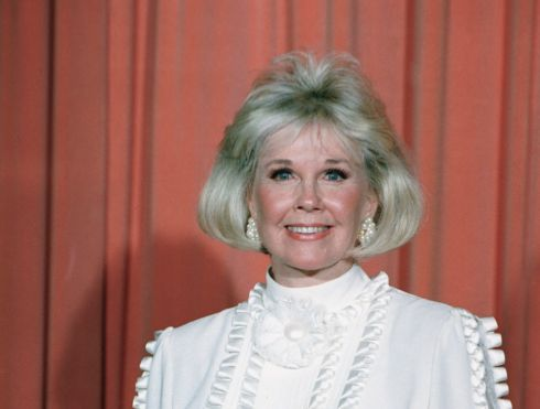 Doris Day after receiving the Cecil B. DeMille Award at the Golden Globe Awards in January, 1989. Photograph:  AP