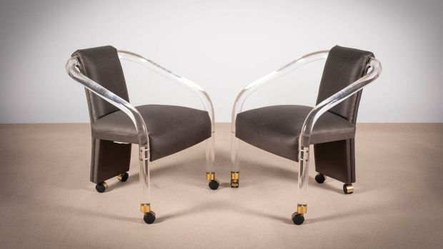 Lot 185, a set of four (two shown) Perspex chairs €100–€200